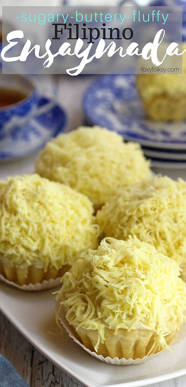 Try this ensaymada recipe for that soft, sweet bread covered with buttercream then topped with lots of grated cheese. Just yummy!| www.foxyfolks.com #filipinofood #filipinorecipes #pastry #bread #baked #sweet #snack #breakfast #foxyfolksy