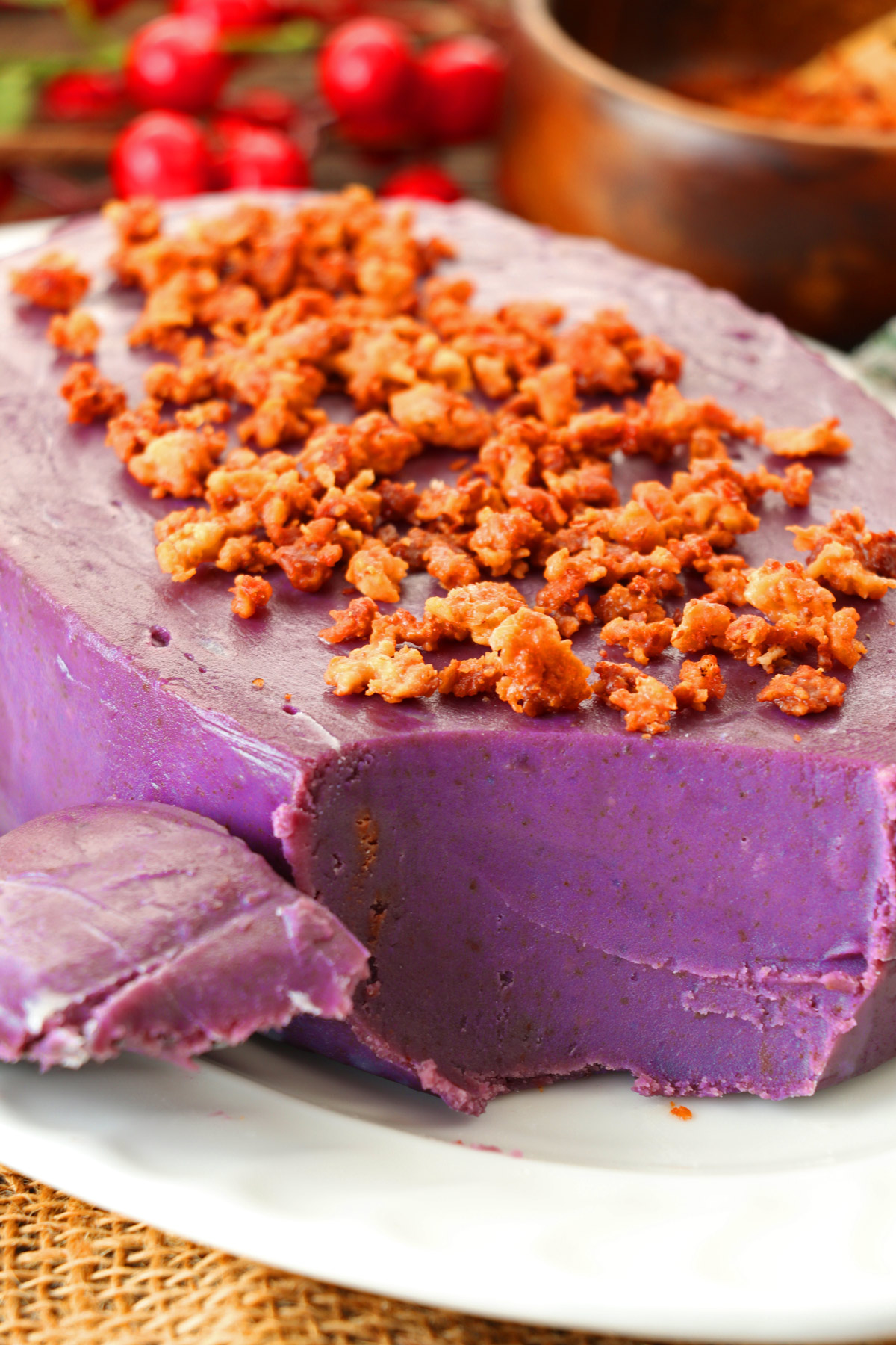 Smooth and creamy purple yam jam with coconut curds on top.