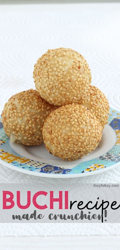 Buchi or Butsi are glutinous rice balls covered in sesame seeds filled usually with sweetened red bean paste which are then deep-fried.  | www.foxyfolksy.com #filipinofood #filipinorecipe #dessert #asian #recipes
