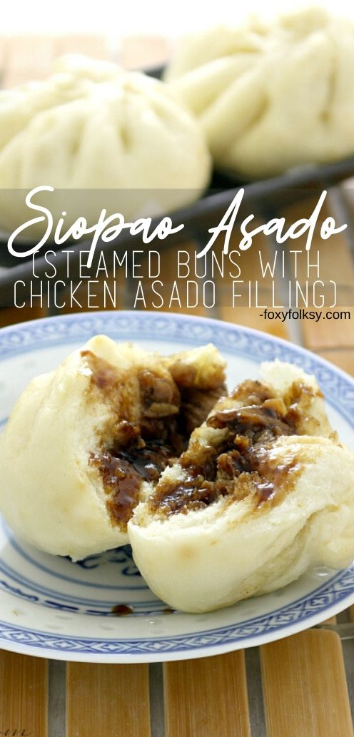 Siopao is a popular Filipino snack. They are steamed buns that are filled with savory-sweet saucy meat dish called Asado or meatballs.  | www.foxyfolksy.com #chinesefood #filipinofood #foxyfolksy