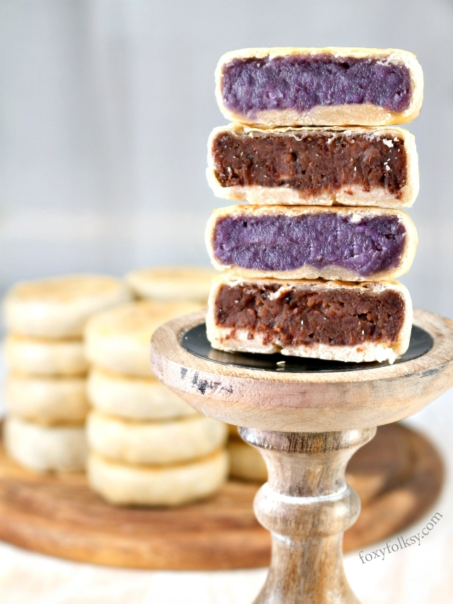 Hopia is yet another favorite snack of Filipinos. This Hopia recipe is made of thin flaky pastry, filled with mung bean paste and Ube (purple yam) filling. | www.foxyfolksy.com