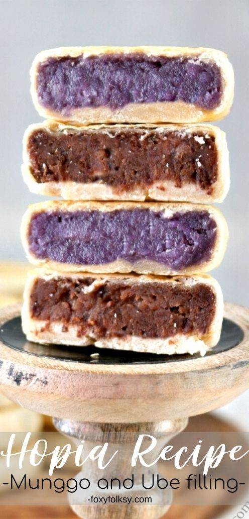 Hopia is yet another favorite snack of Filipinos. This Hopia recipe is made of thin flaky pastry, filled with mung bean paste and Ube (purple yam) filling. | www.foxyfolksy.com #filipinorecipe #filipinofood #breakfast #snack #recipes
