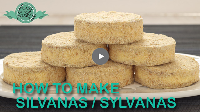 Try these Sylvanas, a Filipino frozen cookie sandwich made from cashew meringue and buttercream covered with biscuit crumbss. | www.foxyfolksy.com
