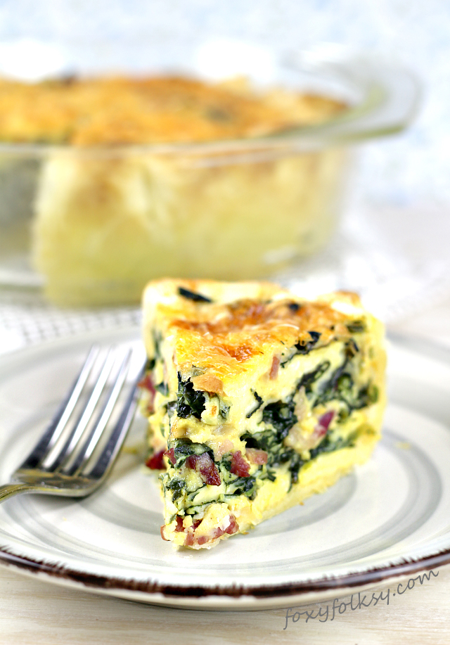 Easy Spinach Quiche With Bacon And Cheese Foxy Folksy