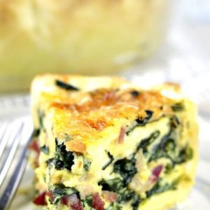 Spinach Quiche with bacon and cheese