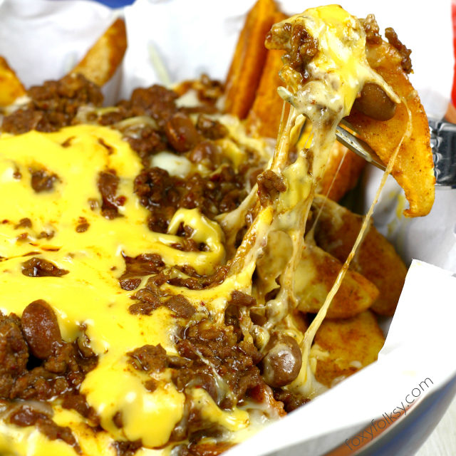 Meaty and Cheesy Chili Cheese Fries