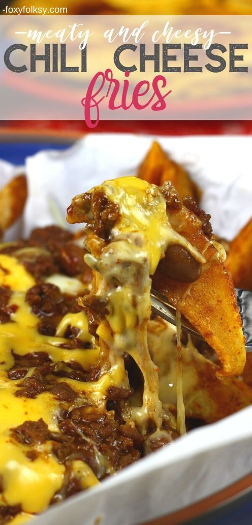 Try this meaty, verycheesy and slightly spicy Chili Cheese Fries or Potato Wedges. It is also easy to make and is done in a jiffy. A complete meal all in itself. | www.foxyfolksy.com #beefrecipe #recipes #appetizer #snack #easy