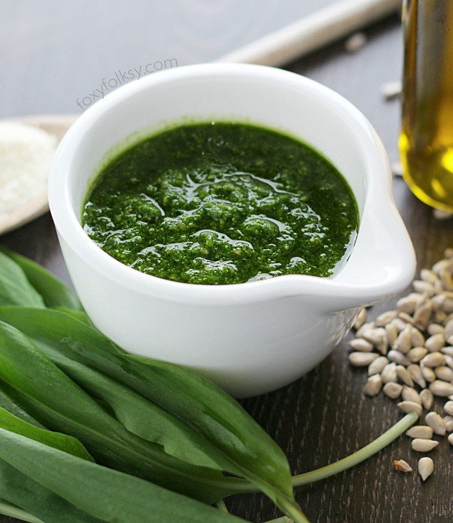 Nutty and garlicky Wild Garlic Pesto. Simply perfect for making pasta, adding flavor to your fish, lamp or beef or simply spreading on your favorite bread.   www.foxyfolksy.com