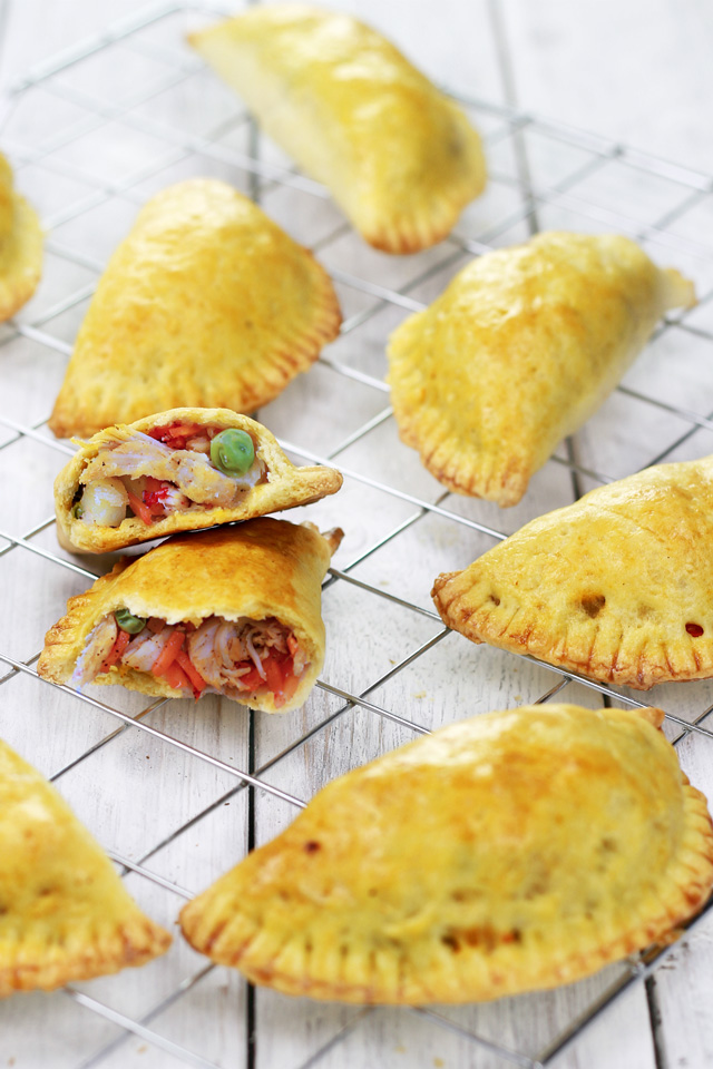 Chicken Empanadas with shredded chicken, green peas, potatoes, carrots and onions