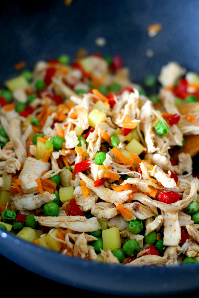 Chicken Empanadas filling: shredded chicken, green peas, potatoes, carrots and onions