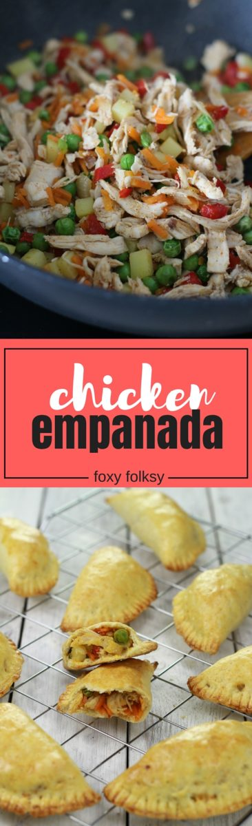 This Filipino chicken empanada is packed with flavorful filling and is baked in a mildly sweet dough that has a slightly flaky texture. Perfect for snack or light meal! | www.foxyfolksy.com