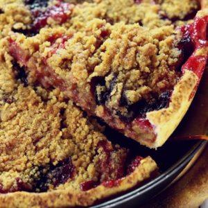 Rhubarb Pie with Blueberries