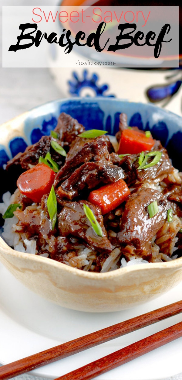 Get this simple recipe for braised beef for that savory-sweet tender chunks of beef that is rich in flavor and spices. This is a Filipino-Chinese version of braised beef similar to Chowking\'s. | www.foxyfolksy.com #braise #beefrecipe #chowking #filipinofood #chinesefood #beef