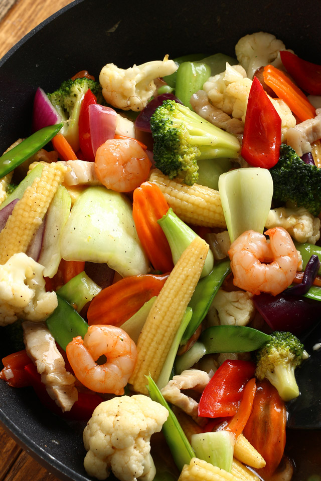 medley of vegetables stir-fry in savory sauce