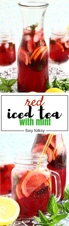 Stay cool and refreshed this summer with this homemade red iced tea with mint . | www.foxyfolksy.com