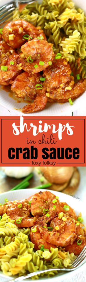 Indulge yourself with this delicious and decadently rich shrimp recipe cooked in chili crab sauce. Yet another quick and easy recipe to love! | www.foxyfolksy.com