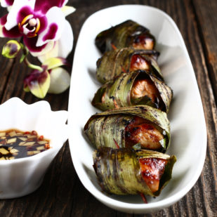 You've Got To Try This Aromatic And Savory Thai Pandan Chicken Recipe! Gai Haw Bai Toey Is A Thai Dish Of Fried Chicken Wrapped In Pandan Leaves. | Www.foxyfolksy.com