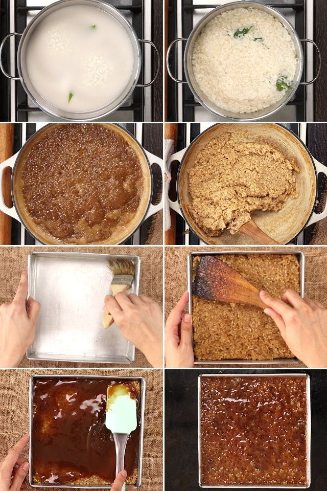 step-by-step photo on how to make sticky rice cake