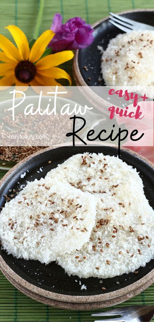 Palitaw is a Filipino afternoon snack or \'merienda\' that consist mainly ofglutinous rice coated with gratedcoconut and sugar and sometimes roasted sesame seeds. | www.foxyfolksy.com #filipinodessert #sweets #filipinorecipe #recipes