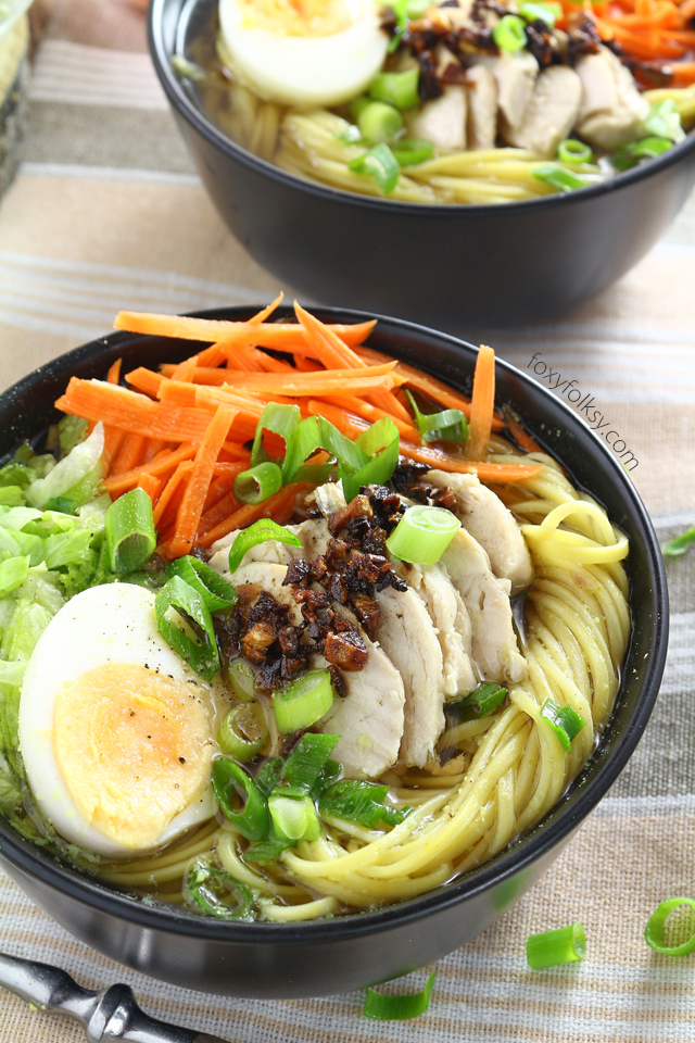 Try this Filipino Chicken Mami recipe, a delicious chicken noodle soup perfect to warm you this cold season and to help keep the colds away.   www.foxyfolksy.com