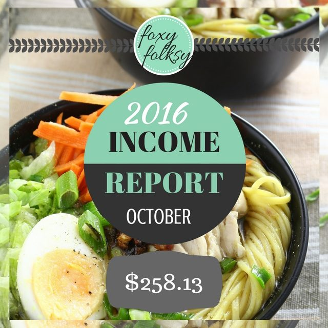 Traffic & Income Report – October 2016