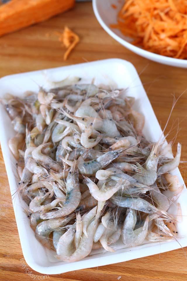 small shelled shrimp used for making okoy/ukoy or shrimp fritters