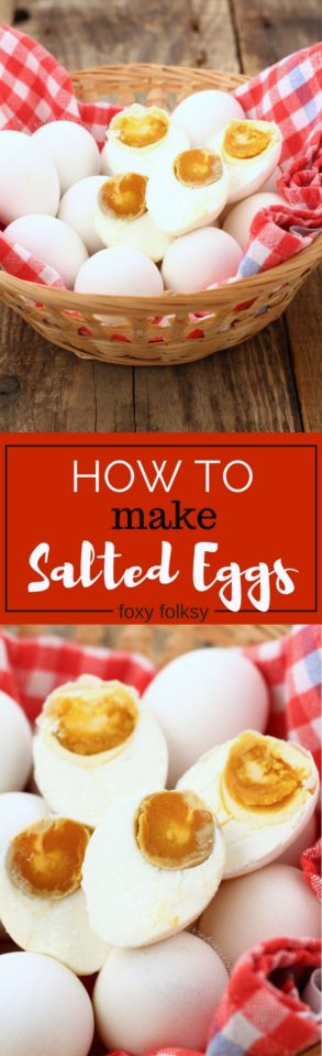 Learn how to make salted eggs, using only brine solution. Salted egg is a popular delicacy both in the Philippines and China that is widely used for various dishes. | www.foxyfolksy.com