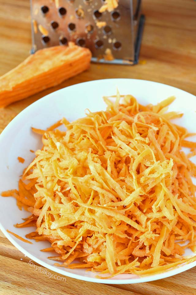 shredded orange sweet potato used for shrimp fritter