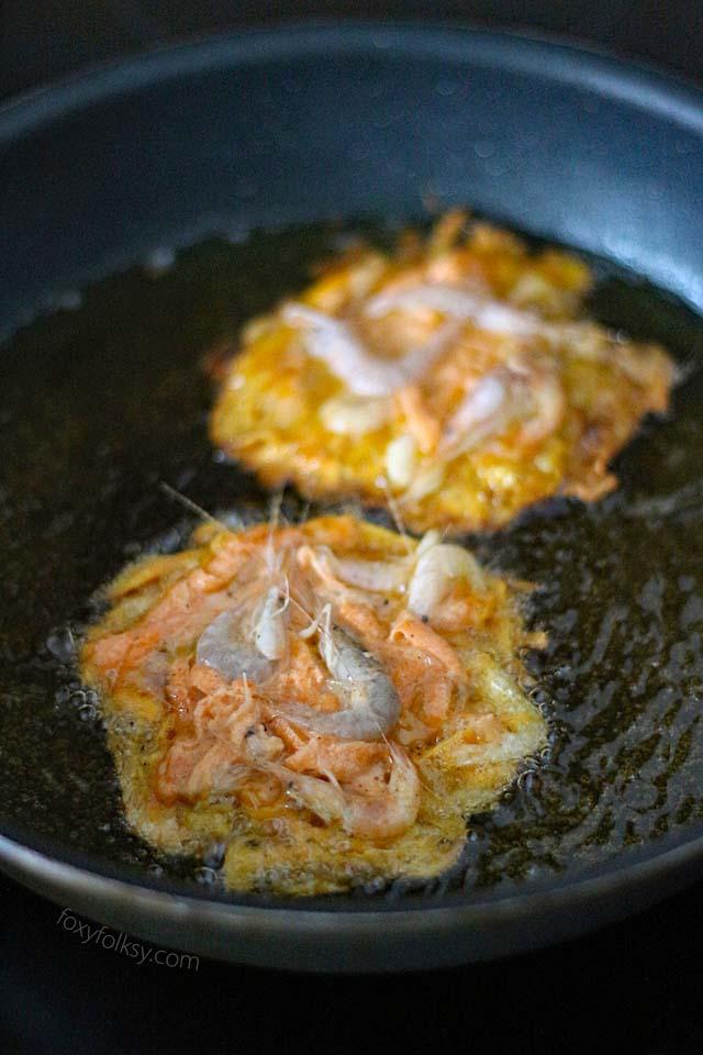 shrimp fritters fried in hot oil