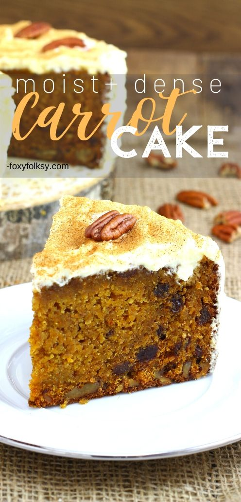 Looking for a Carrot Cake or cupcake Recipe? Here is one that makes a moist, dense, flavorful but not so sweet carrot cake or cupcakes that is simple and easy to follow. | www.foxyfolksy.com #dessert #sweets #cakerecipe #recipes #healthy #easy