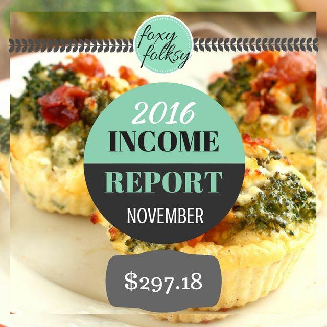 Traffic & Income Report – November 2016