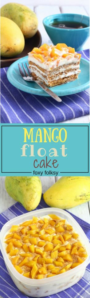 Mango float could be the easiest delicious no-bake dessert you will ever make. Only needs 4 ingredients too! Try it now!   www.foxyfolksy.com
