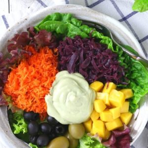 Rainbow Salad with avocado dressing