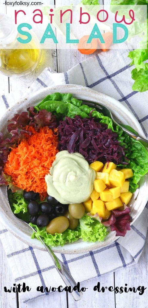 Brighten up your day with this easy, simple recipe for Rainbow Salad with creamy avocado dressing. It beautiful...it\'s colorful...it\'s healthy and yummy! | www.foxyfolksy.com #saladrecipe #healthy #vegan #vegetarian #foxtfolksy