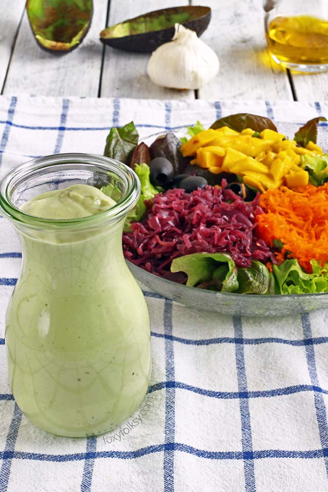 Get simple recipe for this colorful and healthy Rainbow salad with creamy avocado dressing now! | www.foxyfolksy.com