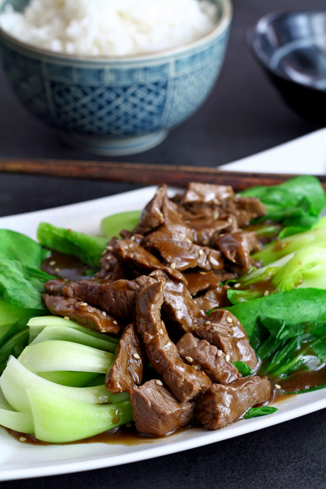 Beef Stir Fry Recipe with Oyster Sauce and Pak Choi