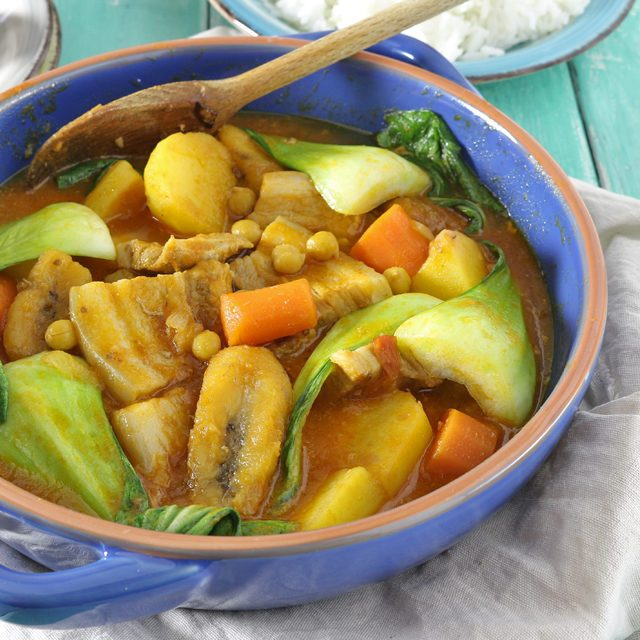 Try this Filipino Pork Pochero recipe using pork belly. A tomato-based stew that has ripe plantain bananas that set it apart from any other! | www.foxyfolksy.com