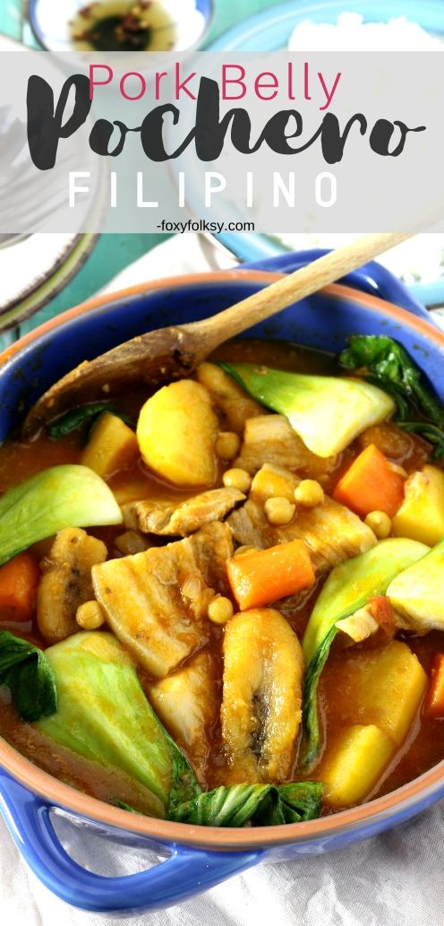 Try this Filipino Pork Pochero recipe using pork belly. A tomato-based stew that has ripe plantain bananas that set it apart from any other! | www.foxyfolksy.com #filipinofood #filipinorecipe #recipes #asianfood #porkrecipe