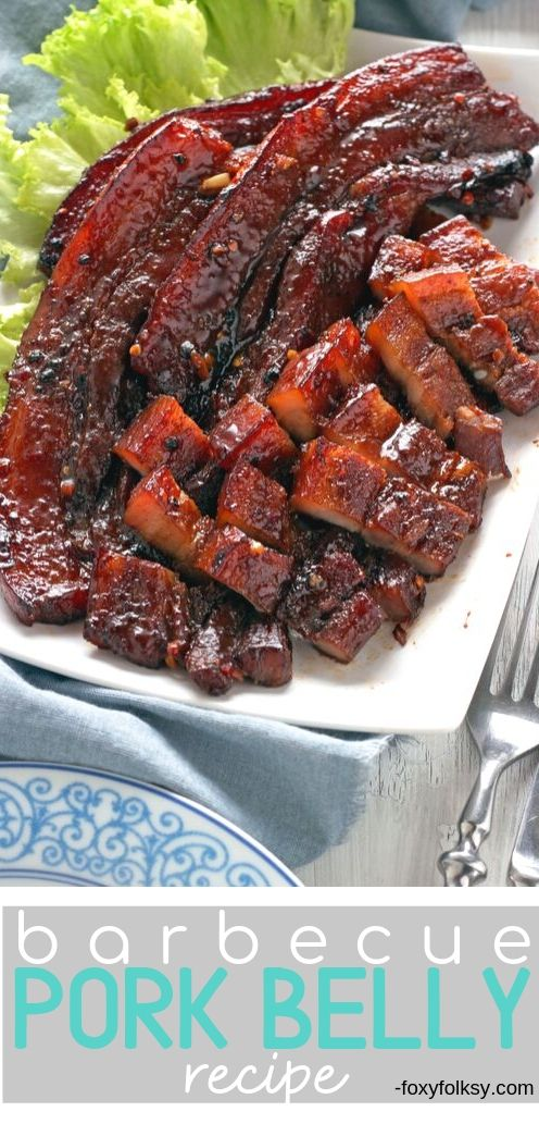 Try this simple recipe for sweet and savory BBQ Pork Belly grilled in the oven. It only needs 5 ingredients that are usually already found in your kitchen. | www.foxyfolksy.com #porkrecipe #recipes #easy #grilled