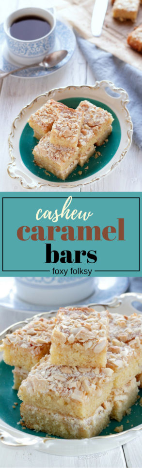 Try this easy recipe for Cashew Caramel Bars with cashew nuts. | www.foxyfolksy.com