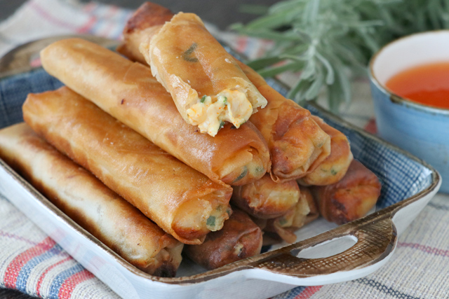 Canned Tuna mixed with mayonnaise, cheese and spices then wrapped in lumpia wrapper and deep fried.