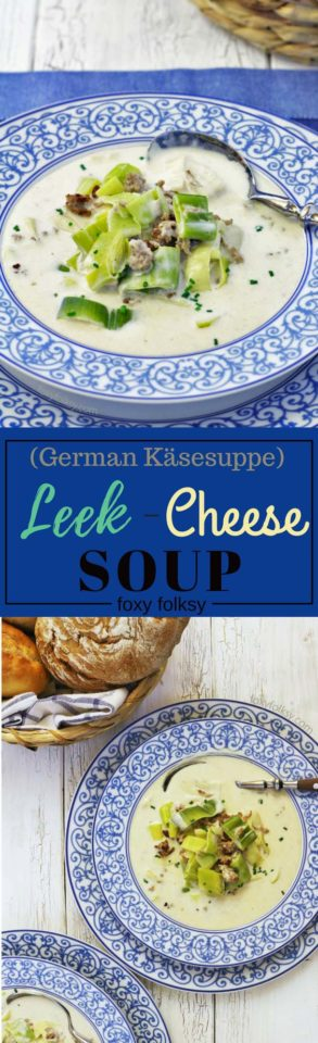 Try this delicious and creamy German Käsesuppe or leek cheese soup. With sauteed ground meat and blue cheese. | www.foxyfolksy.com