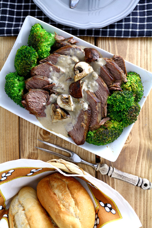 Pot roast beef with creamy mushroom sauce. Try the Filipino style roast beef! | www.foxyfolksy.com