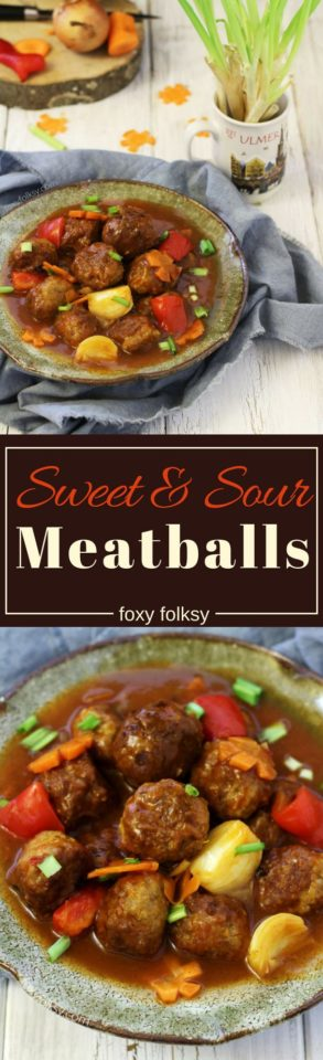 Get easy recipe for sweet and sour meatballs with the perfect balance of sweet and tangy!   www.foxyfolksy.com