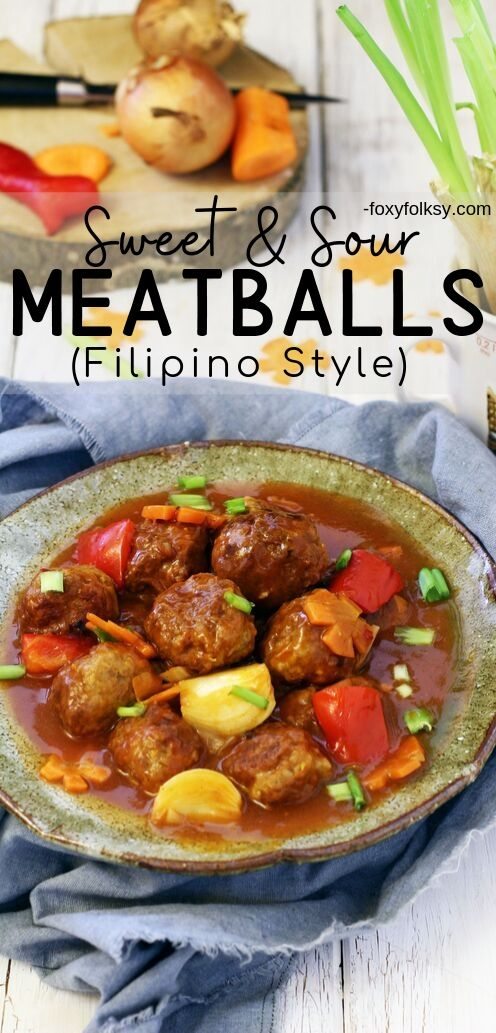 These sweet and sour meatballs are fried then simmered in the sauce, to let the flavor of the sauce seep into the meatballs. Simple and yummy, try it now! | www.foxyfolksy.com #filipinofood #filipinorecipe #asianfood #porkrecipe #recipes