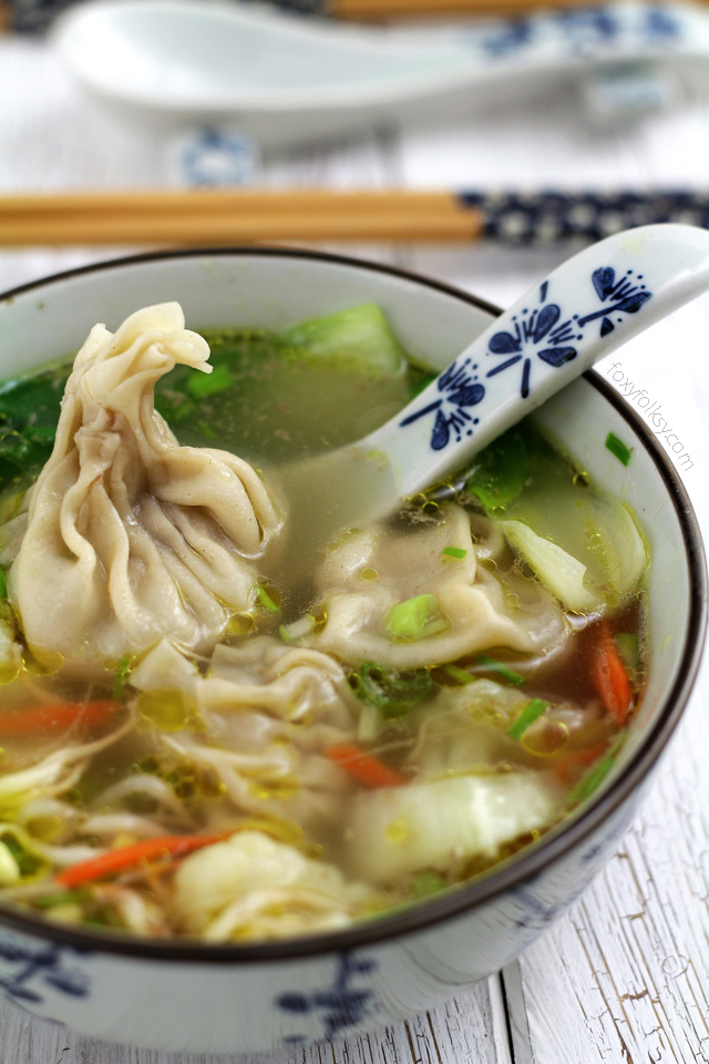 wonton soup easy recipe  foxy folksy
