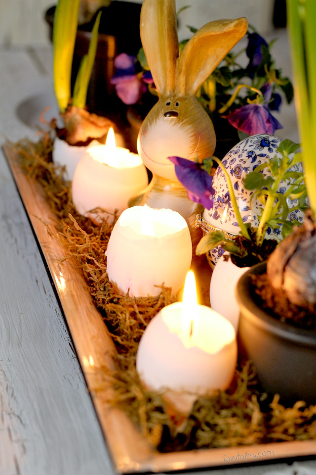 Try this easy Easter Egg Candle for Table Centerpiece project! www.foxyfolksy.com