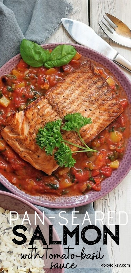 Try this easy Pan-seared Salmon recipe and with flavorful tomato and basil sauce, you never need to dine out again to enjoy such fine-dining experience. | www.foxyfolksy.com #recipes #fishrecipe #foxyfolksy