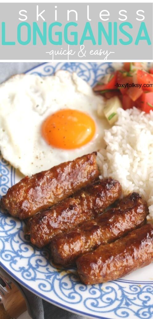 Try this simple lean pork skinless Longganisa recipe! For a hearty breakfast, serve with egg and rice! Deliciously sweet, savory and garlicky! | www.foxyfolksy.com #homemade #recipes #porkrecipe #foxyfolksy