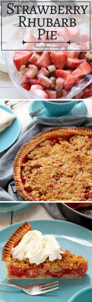Sweet and tart, this strawberry rhubarb pie with crisp crumb topping is simply delicious! Get recipe here!| www.foxyfolksy.com